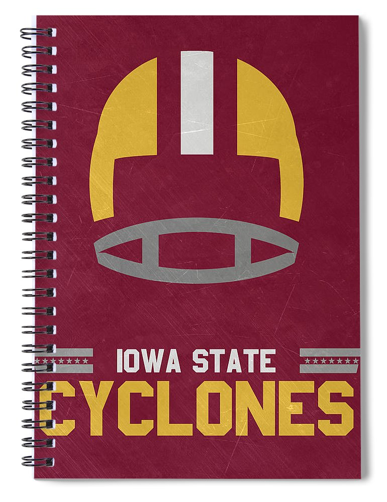 Cyclones Spiral Notebook featuring the mixed media Iowa State Cyclones Vintage Football Art by Joe Hamilton