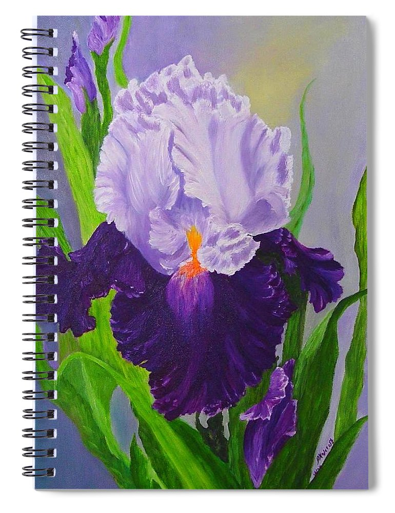 Floral Painting Spiral Notebook featuring the painting Iris by Peggy Holcroft
