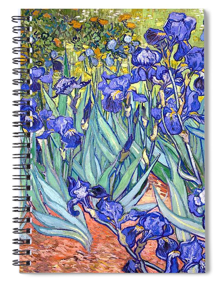 Van Gogh Spiral Notebook featuring the painting Irises by Van Gogh