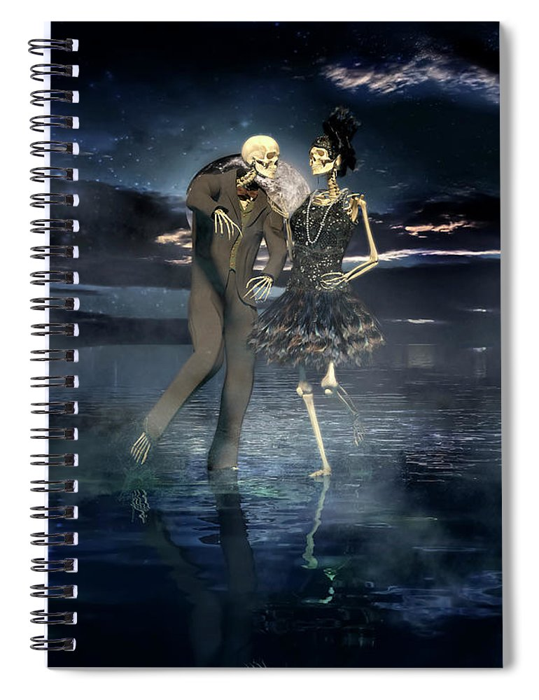 Skeleton Spiral Notebook featuring the digital art Isn't Life Grand by Betsy Knapp