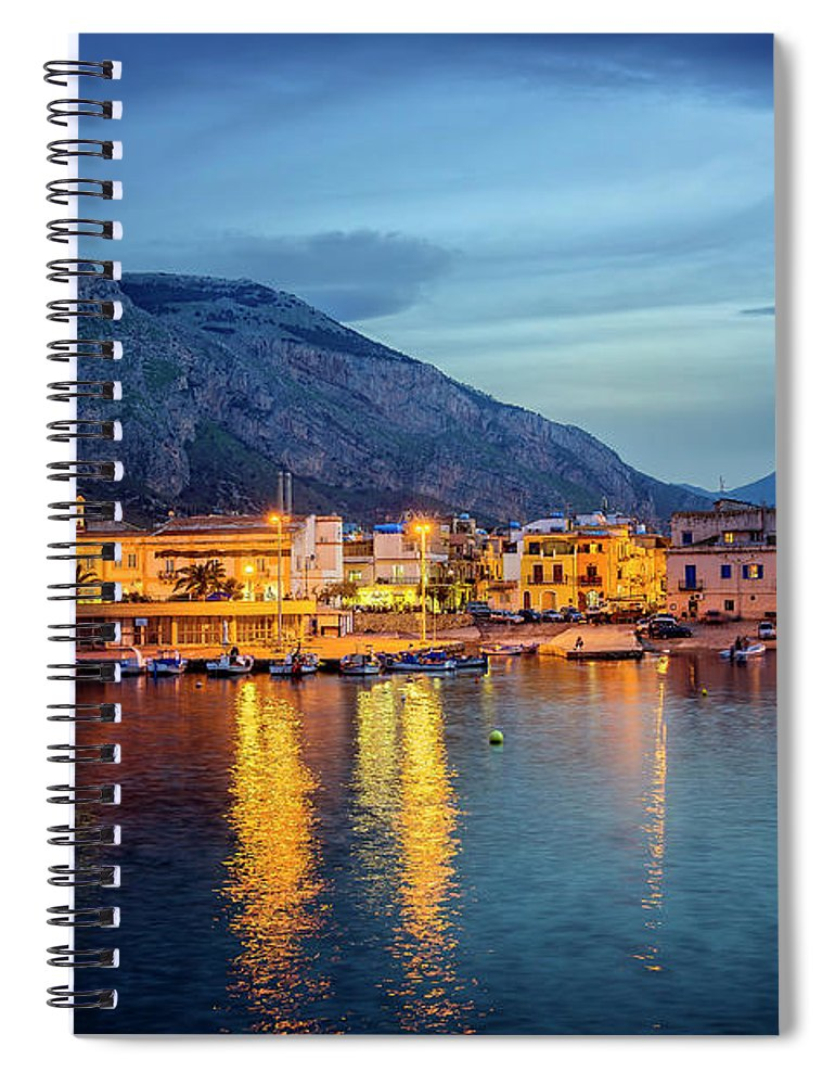 Sicily Spiral Notebook featuring the photograph Isola delle Femmine Harbour by Ian Good