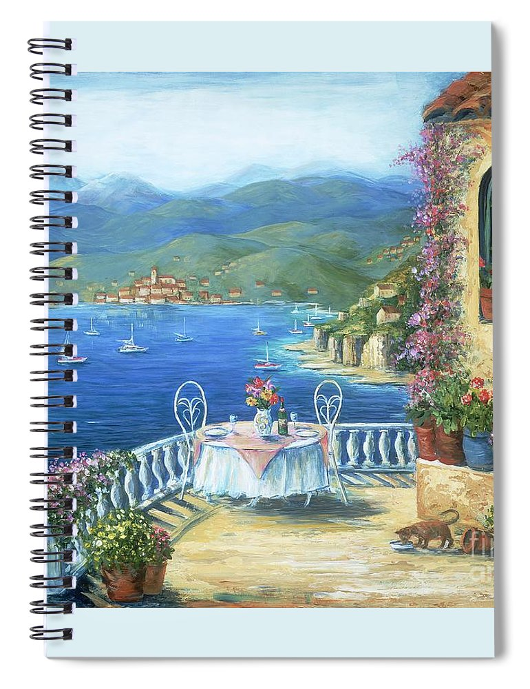 Cat Spiral Notebook featuring the painting Italian Lunch On The Terrace by Marilyn Dunlap