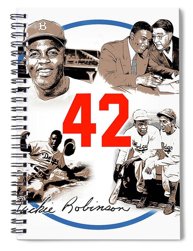 Jackie Robinson Spiral Notebook featuring the digital art Jackie 42 by Greg Joens