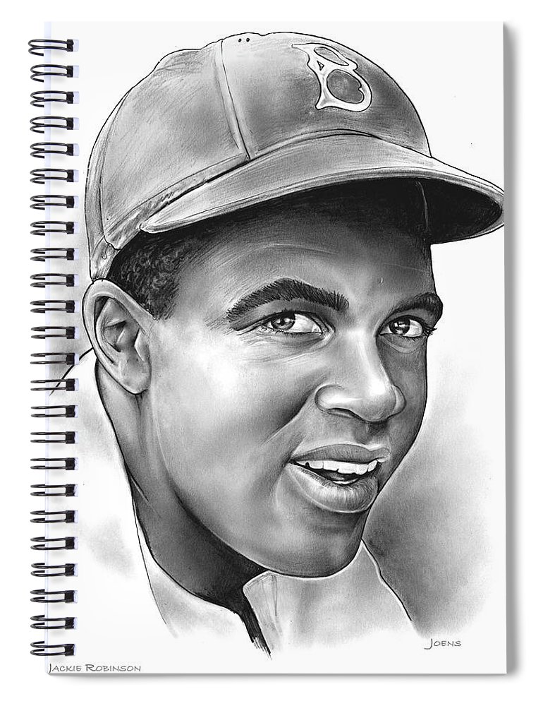 Jackie Robinson Spiral Notebook featuring the drawing Jackie Robinson by Greg Joens