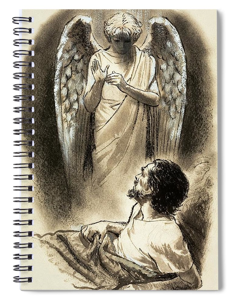 Jacob Spiral Notebook featuring the painting Jacob's Dream by Clive Uptton