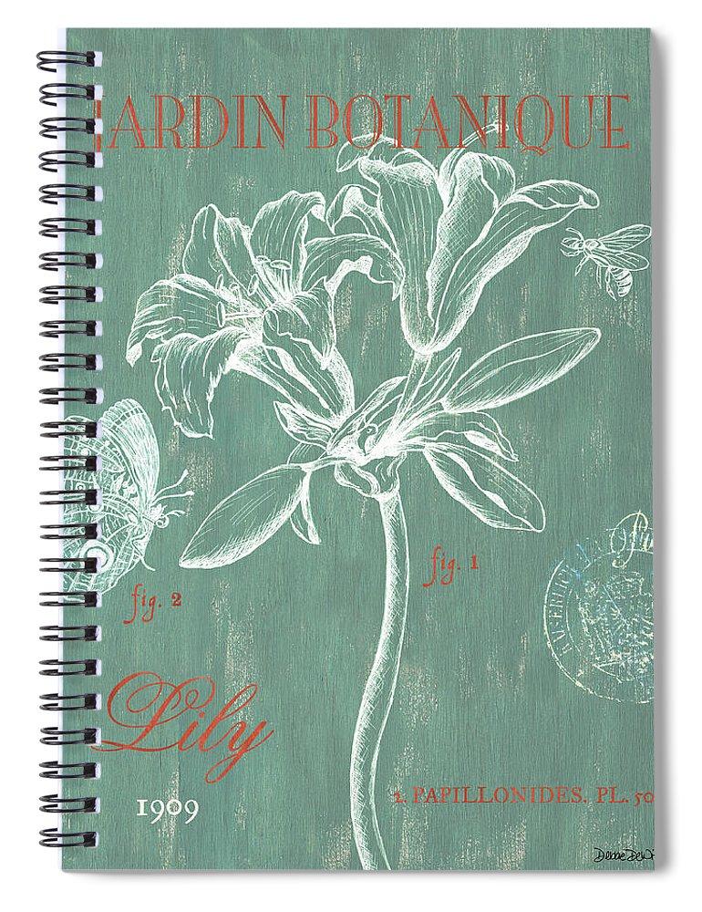 Floral Spiral Notebook featuring the drawing Jardin Botanique Aqua by Debbie DeWitt
