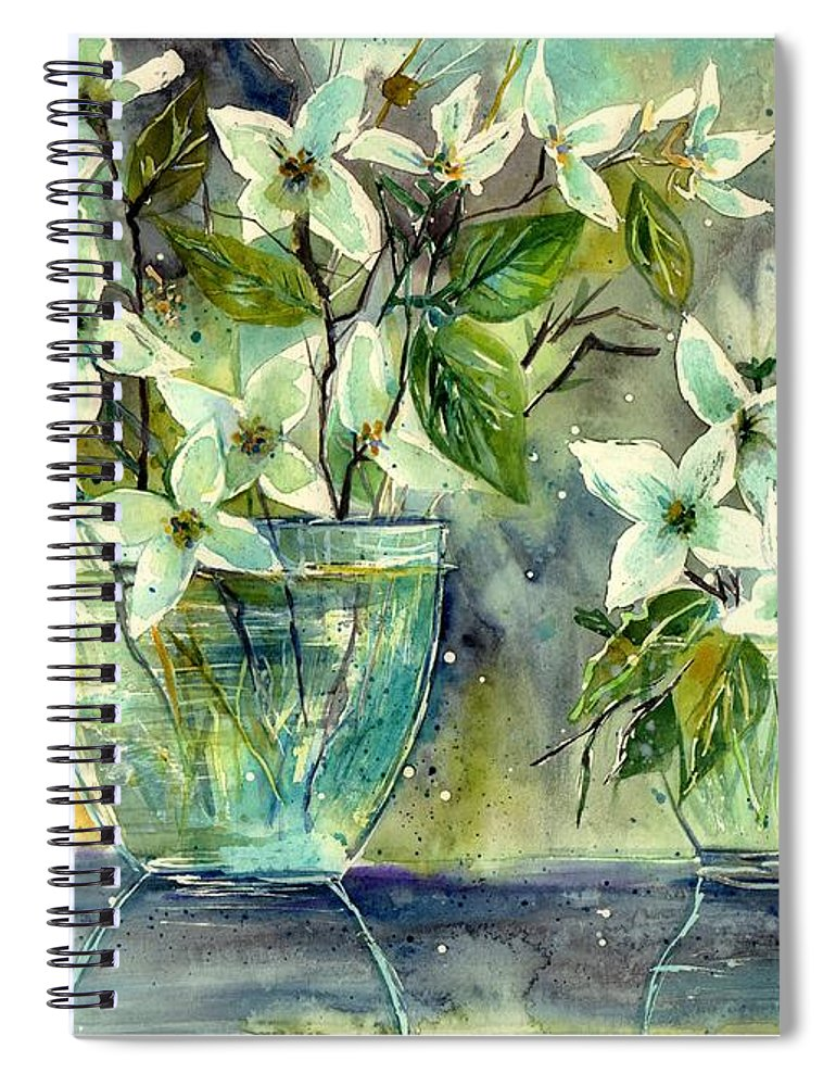Cosmic Spiral Notebook featuring the painting Jasmine In Glass by Suzann Sines