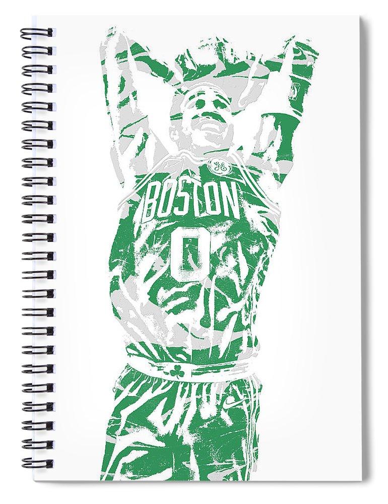 Jayson Tatum Spiral Notebook featuring the mixed media Jayson Tatum Boston Celtics Pixel Art 12 by Joe Hamilton