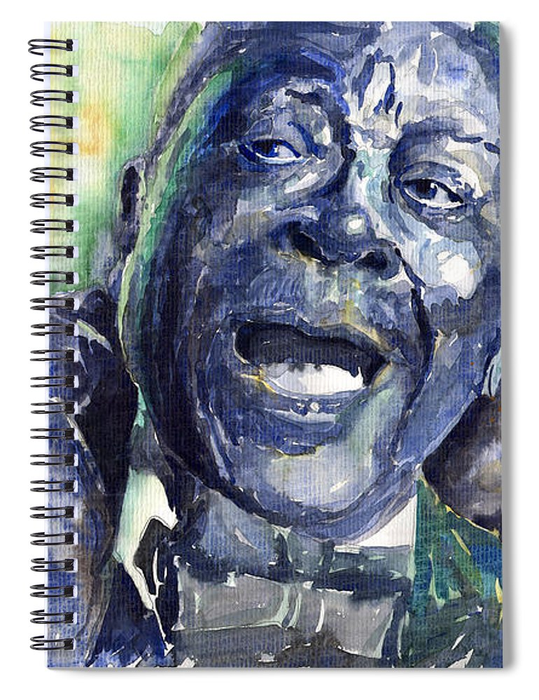 Jazz Spiral Notebook featuring the painting Jazz B.b.king 04 Blue by Yuriy Shevchuk