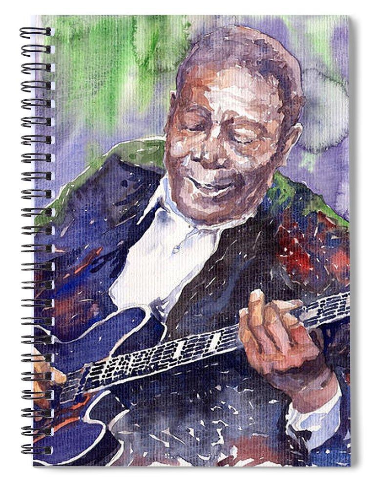 Jazz Spiral Notebook featuring the painting Jazz B B King 06 by Yuriy Shevchuk