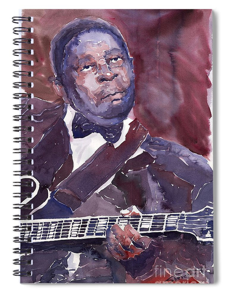 Jazz Bbking Guitarist Blues Portret Figurative Music Spiral Notebook featuring the painting Jazz B B King by Yuriy Shevchuk