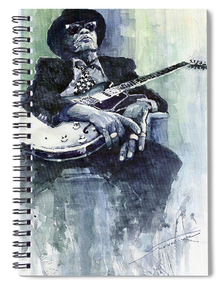 Jazz Spiral Notebook featuring the painting Jazz Bluesman John Lee Hooker 04 by Yuriy Shevchuk