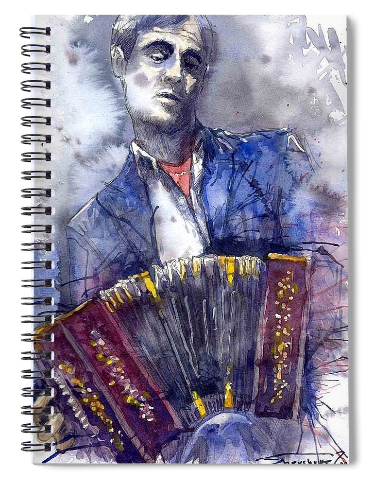 Jazz Spiral Notebook featuring the painting Jazz Concertina Player by Yuriy Shevchuk