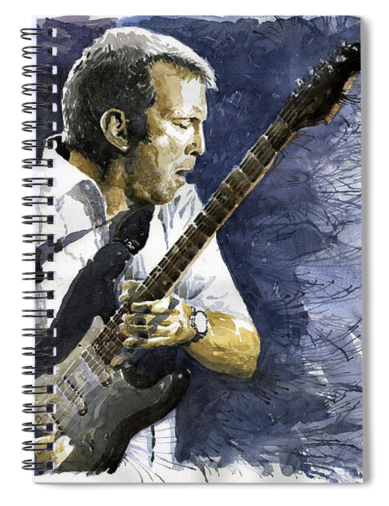 Eric Clapton Spiral Notebook featuring the painting Jazz Eric Clapton 1 by Yuriy Shevchuk