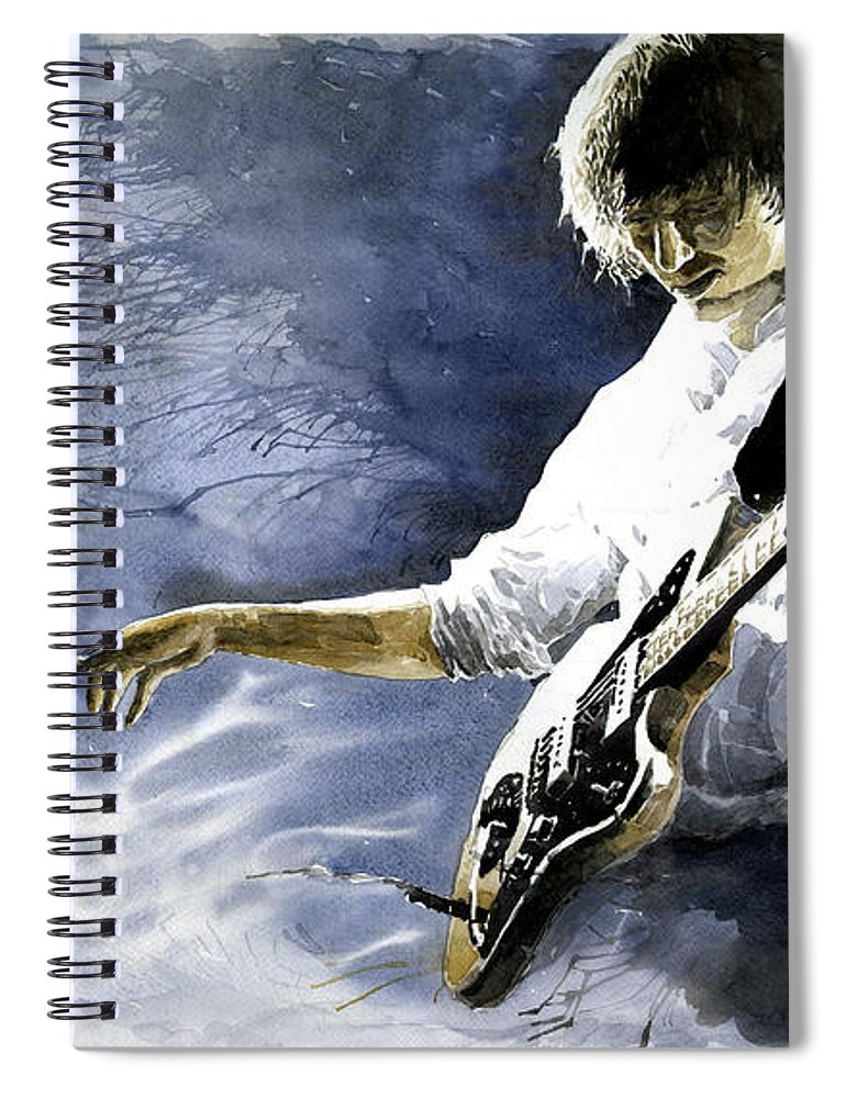 Figurativ Spiral Notebook featuring the painting Jazz Guitarist Last Accord by Yuriy Shevchuk