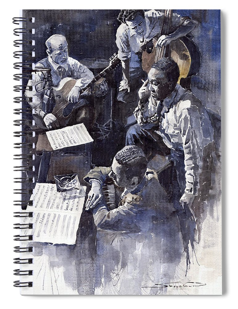 Jazz Spiral Notebook featuring the painting Jazz Parker Tristano Bauer Safransky Rca Studio Ny 1949 by Yuriy Shevchuk