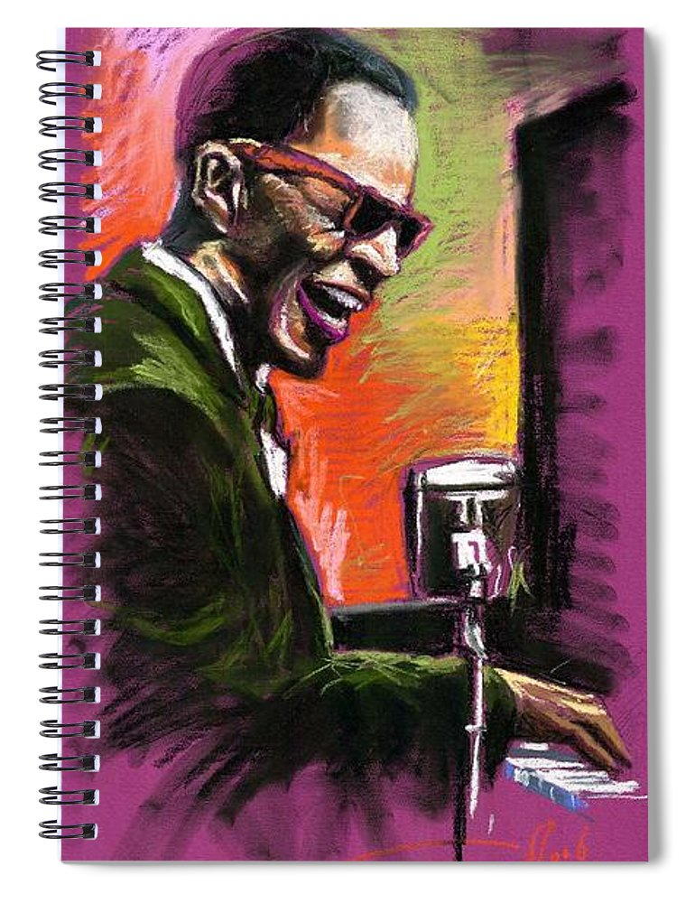 Spiral Notebook featuring the painting Jazz. Ray Charles.2. by Yuriy Shevchuk