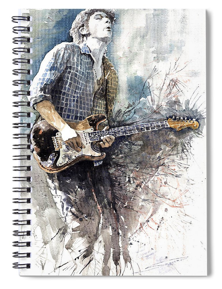 Jazz Spiral Notebook featuring the painting Jazz Rock John Mayer 05 by Yuriy Shevchuk