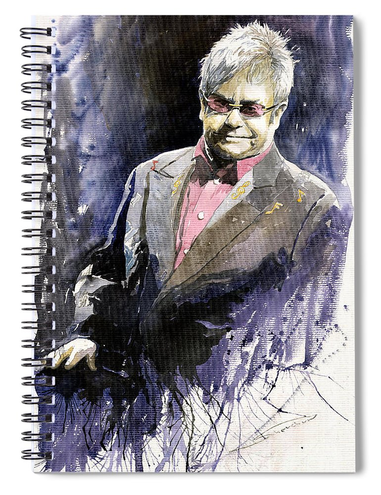 Watercolour Spiral Notebook featuring the painting Jazz Sir Elton John by Yuriy Shevchuk