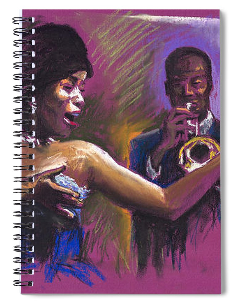 Jazz Spiral Notebook featuring the painting Jazz Song.2. by Yuriy Shevchuk