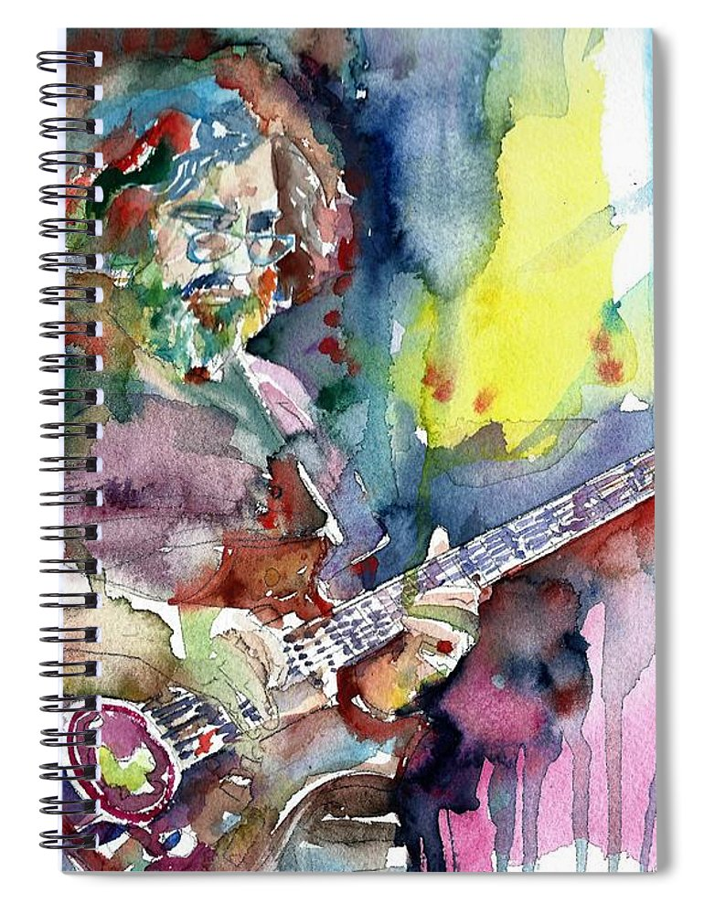 Jerry Garcia Spiral Notebook featuring the painting Jerry Garcia - Watercolor Portrait.16 by Fabrizio Cassetta