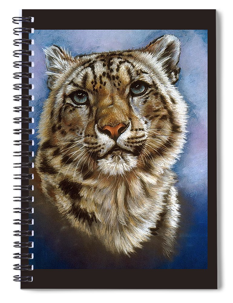 Snow Leopard Spiral Notebook featuring the pastel Jewel by Barbara Keith
