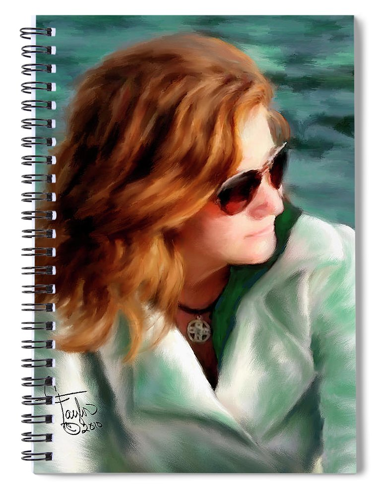 Red Head Spiral Notebook featuring the painting Jewel Of Contemplation by Colleen Taylor