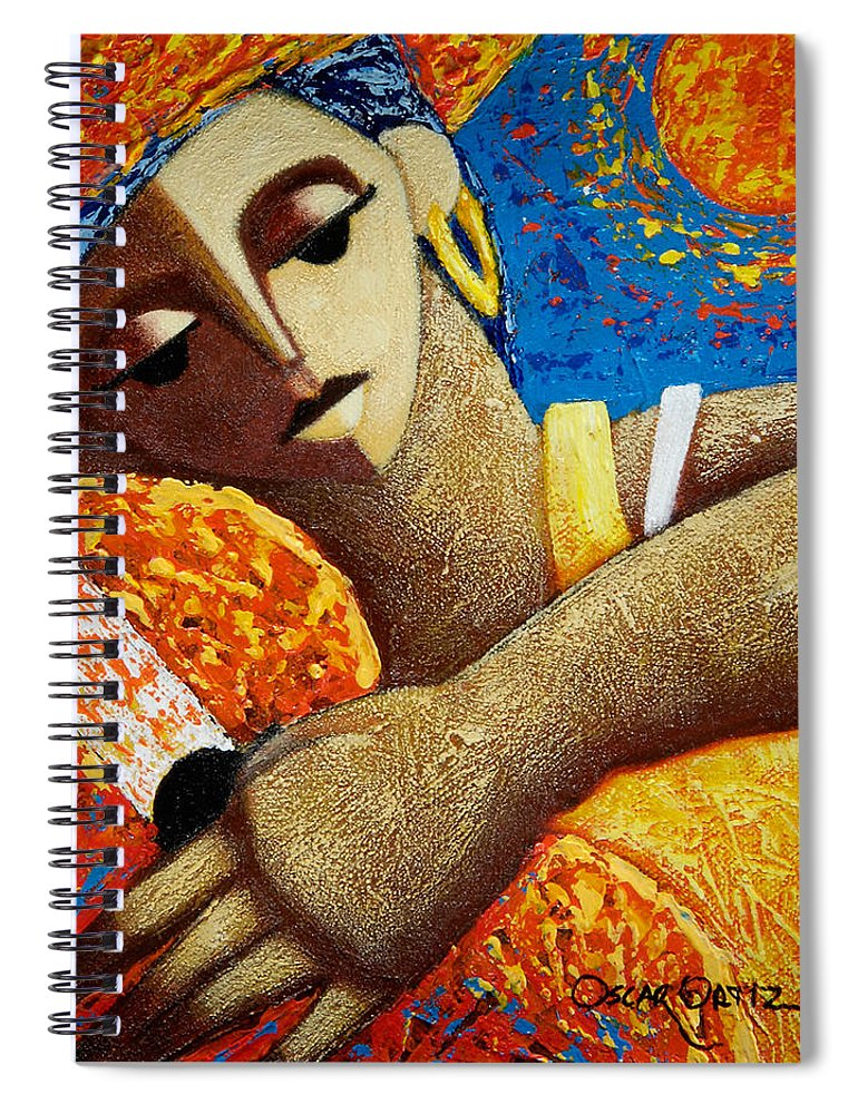 Puerto Rico Spiral Notebook featuring the painting Jibara y Sol by Oscar Ortiz