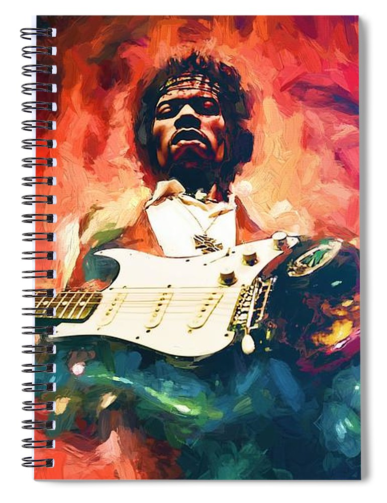 Jimi Hendrix # Hendrix # Pop Star # Rock Star # Music Legend # # Famous People Portraits # Guitar # Guitar Rock # Fender Stratocaster # Psychedelic Music # Woodstock # Voodoo Child # Rock And Roll # Jimi Hendrix Painting # Spiral Notebook featuring the painting Jimi Hendrix by Louis Ferreira