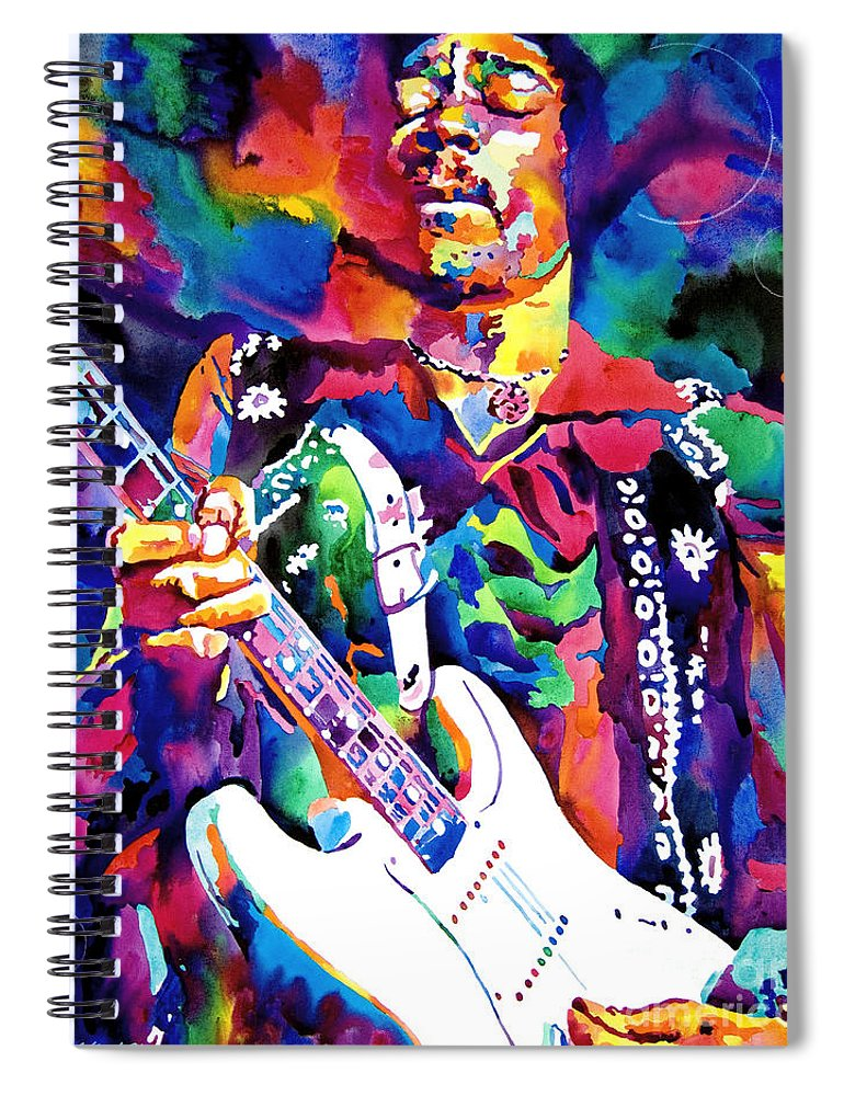 Jimi Hendrix Spiral Notebook featuring the painting Jimi Hendrix Purple by David Lloyd Glover
