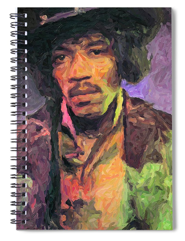 Jimi Hendrix Spiral Notebook featuring the painting Jimi Hendrix by Zapista OU
