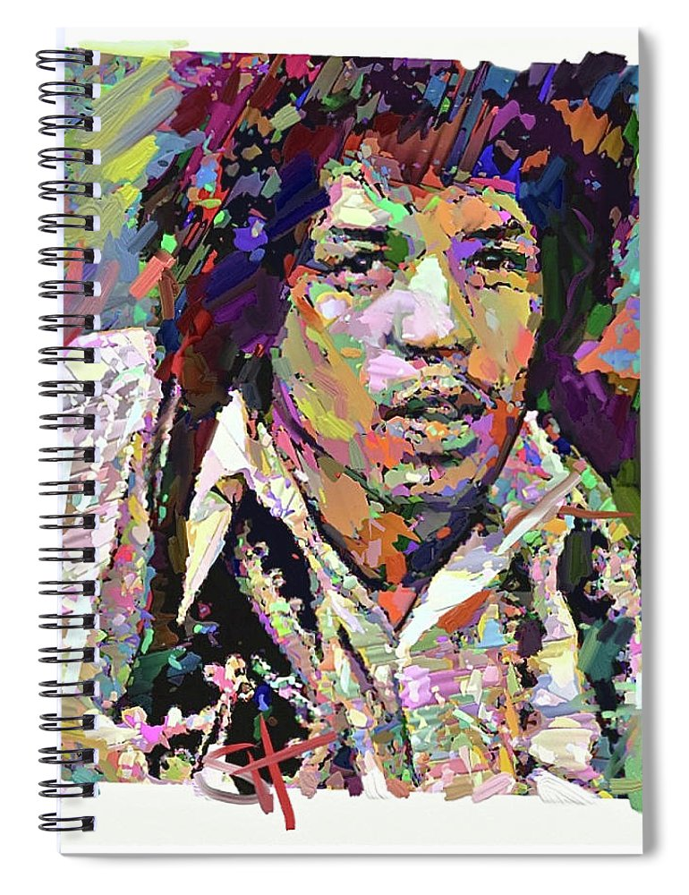 Jimi Hendrix Music Portrait Musician Rock Spiral Notebook featuring the digital art Jimi by Scott Waters