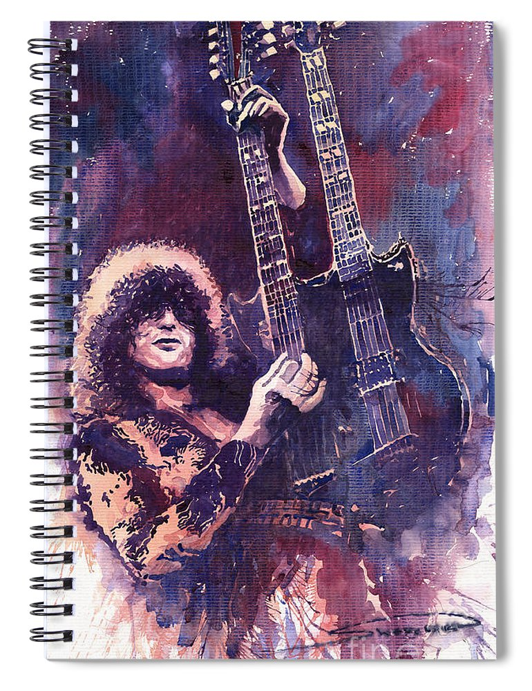 Watercolour Spiral Notebook featuring the painting Jimmy Page by Yuriy Shevchuk