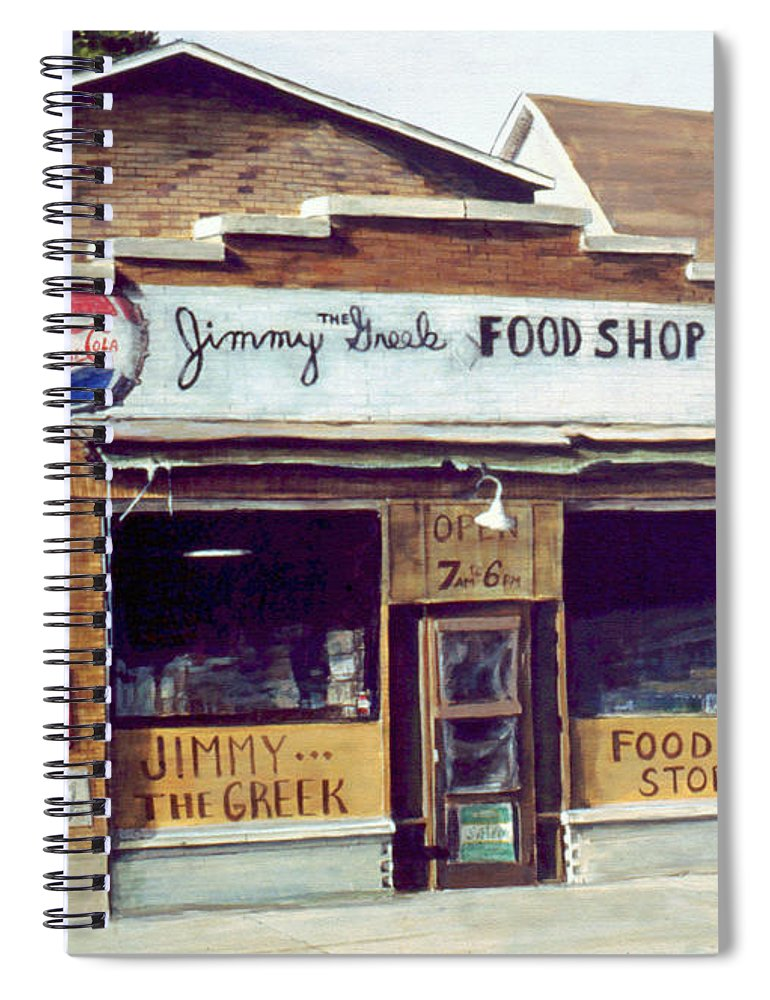 Small Town Spiral Notebook featuring the painting Jimmy The Greek by William Brody