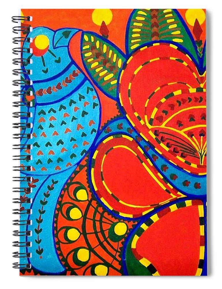 Contemporary Folk Spiral Notebook featuring the painting Jinga Bird - Jinga bird by Fareeha Khawaja
