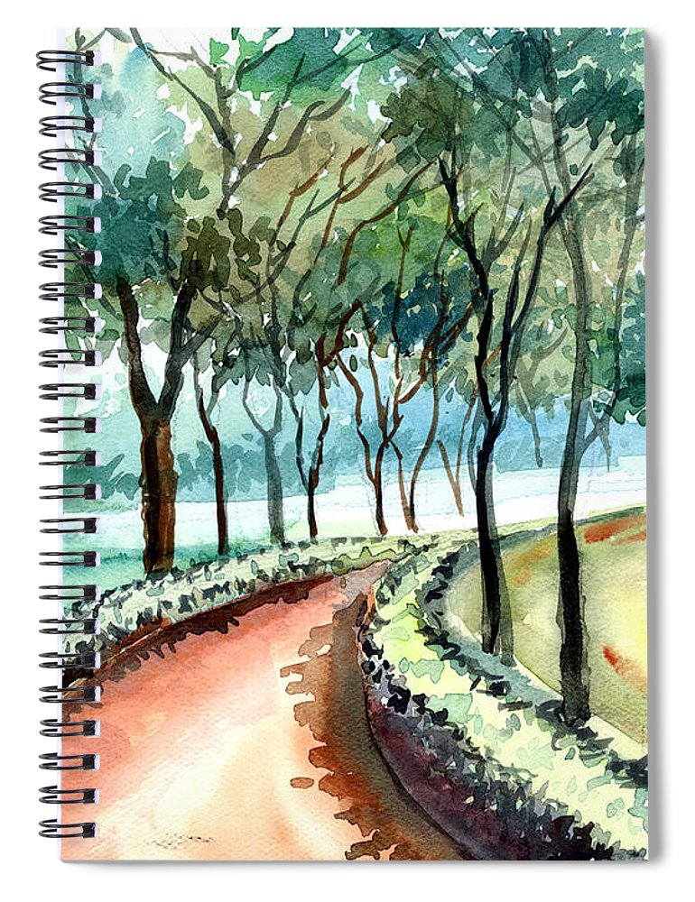 Landscape Spiral Notebook featuring the painting Jogging track by Anil Nene