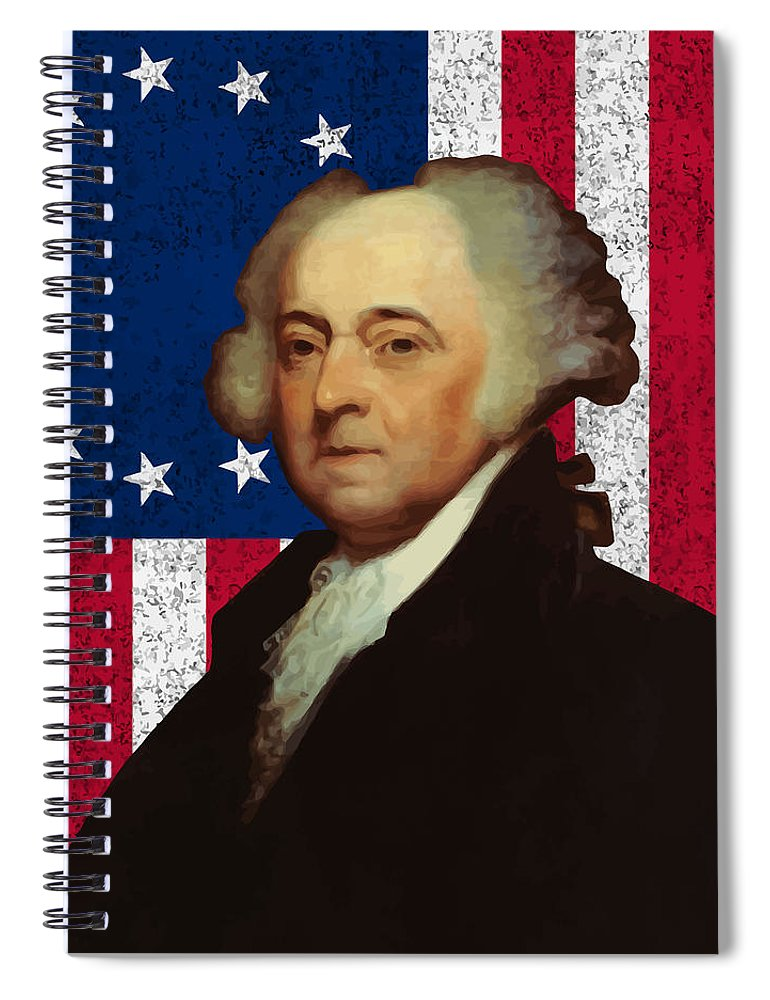 John Adams Spiral Notebook featuring the painting John Adams And The American Flag by War Is Hell Store
