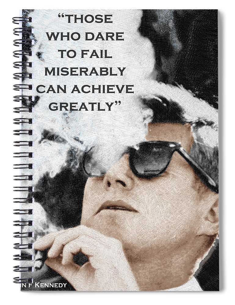 4142a2ca401 President Spiral Notebook featuring the painting John F Kennedy Cigar And  Sunglasses 3 And Quote by