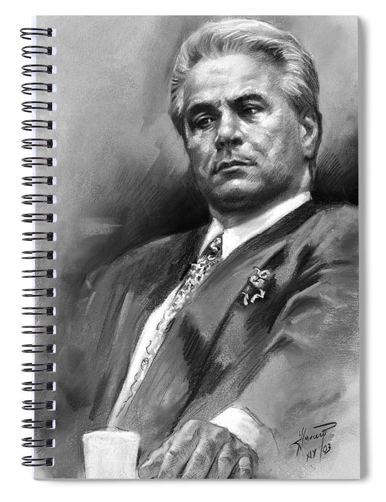 John Gotti Spiral Notebook featuring the drawing John Gotti by Ylli Haruni