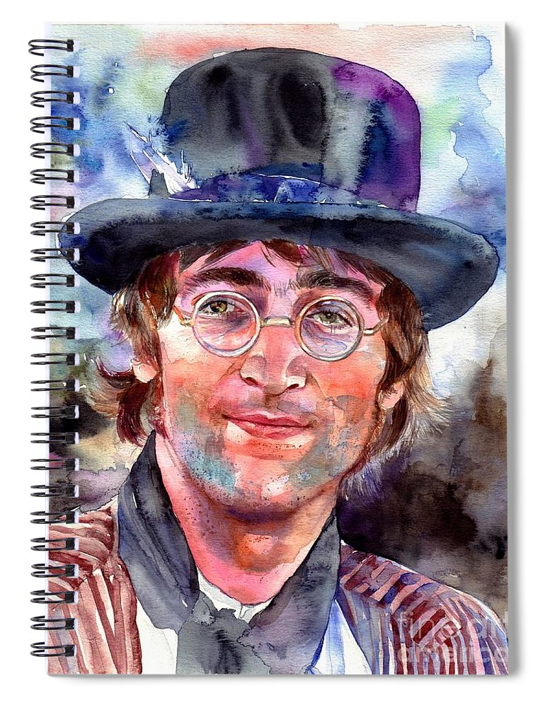 John Spiral Notebook featuring the painting John Lennon Portrait by Suzann Sines