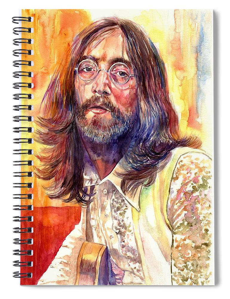 John Lennon Spiral Notebook featuring the painting John Lennon watercolor by Suzann Sines