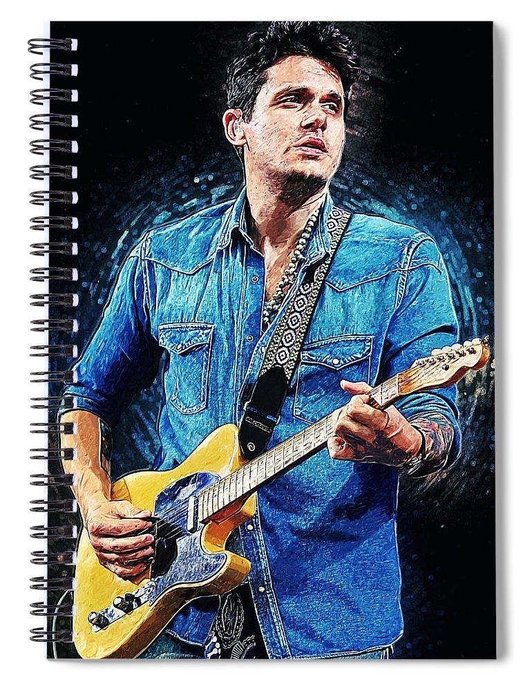 John Mayer Spiral Notebook featuring the digital art John Mayer by Zapista OU
