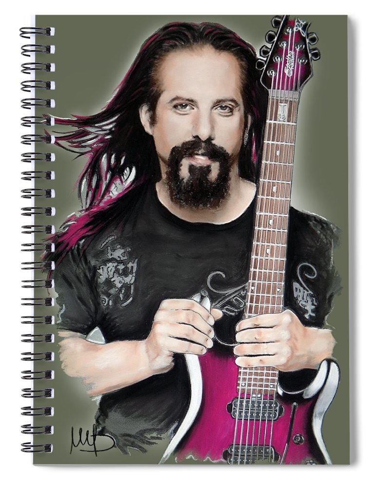 John Petrucci Spiral Notebook featuring the mixed media John Petrucci by Melanie D