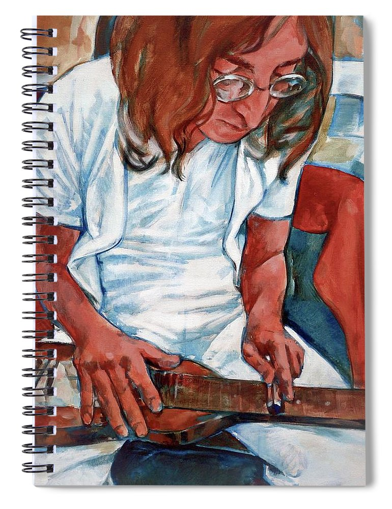John Lennon Portrait Beatles Music Musician Rock Spiral Notebook featuring the painting John by Scott Waters
