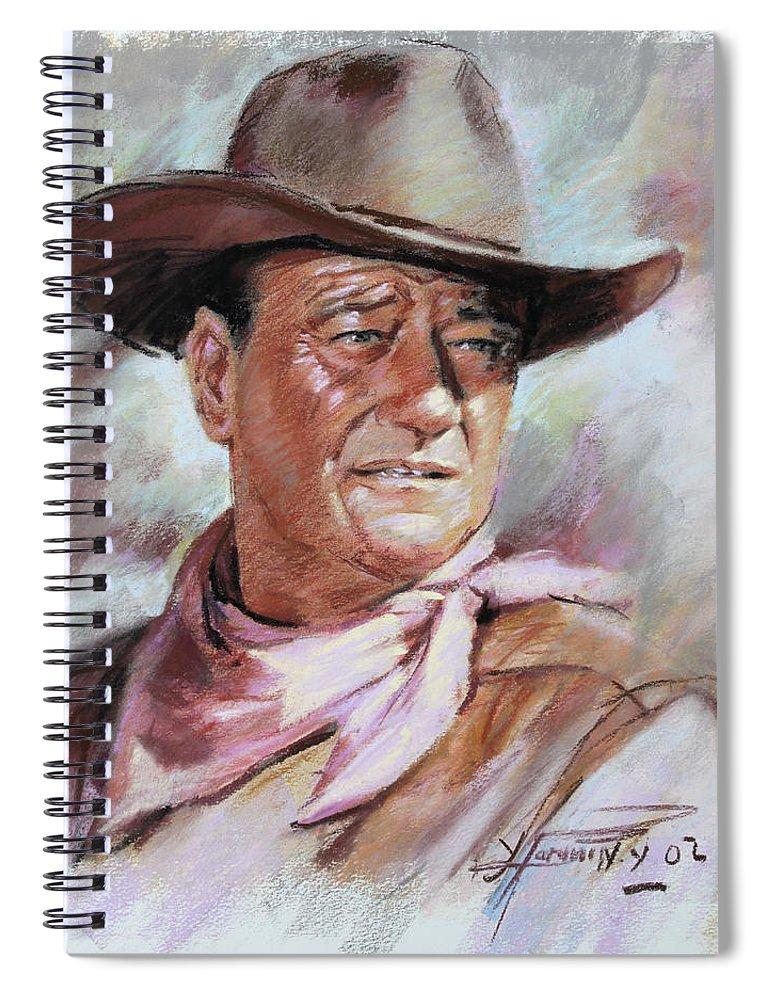 John Wayn Spiral Notebook featuring the pastel John Wayn by Ylli Haruni