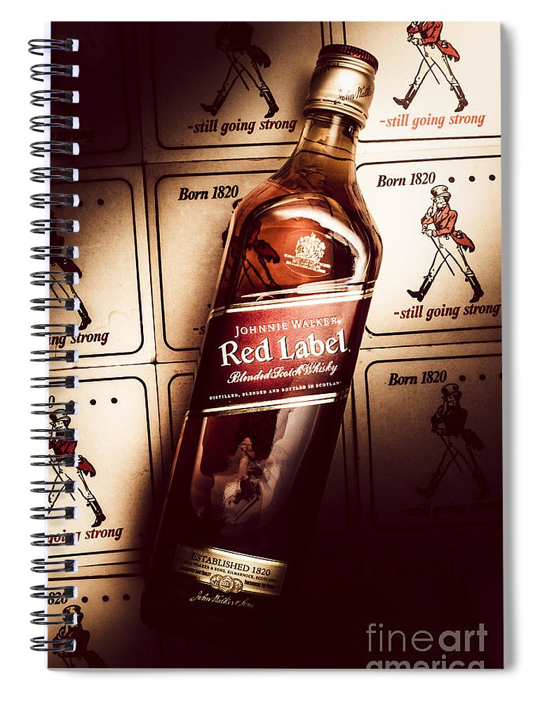 Pub Spiral Notebook featuring the photograph Johnnie Walker Red Label Blended Whisky by Jorgo Photography - Wall Art Gallery