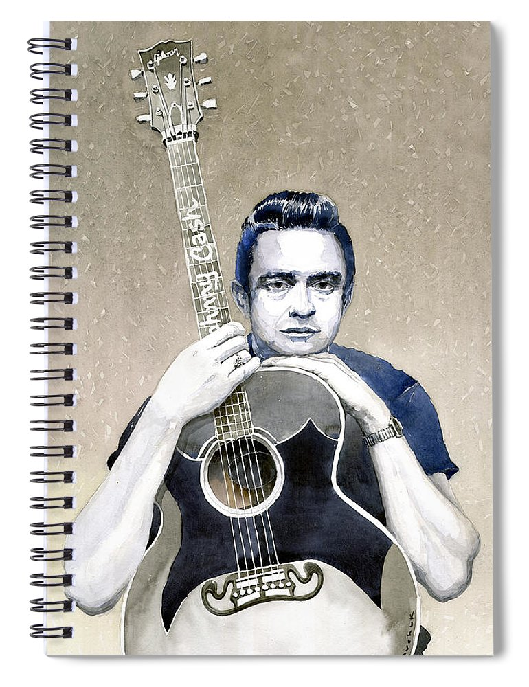 Watercolor Spiral Notebook featuring the painting Johnny Cash by Yuriy Shevchuk