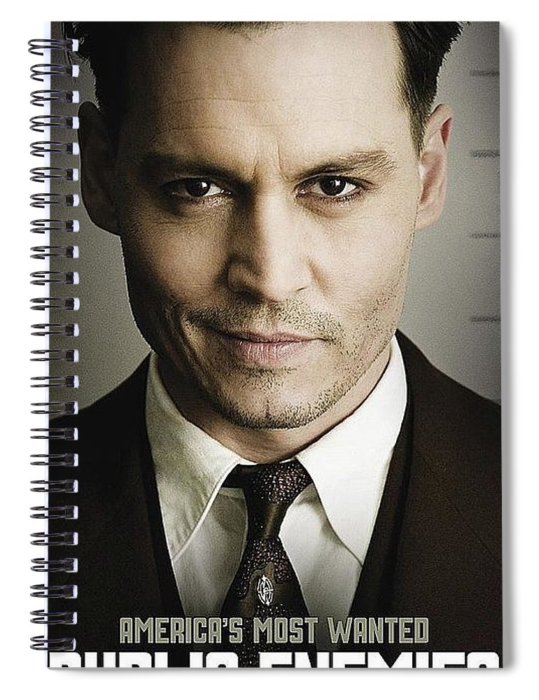 Johnny Depp As Bank Robber John Dillinger Theatrical Poster Public Enemies 2009 Spiral Notebook For Sale By David Lee Guss