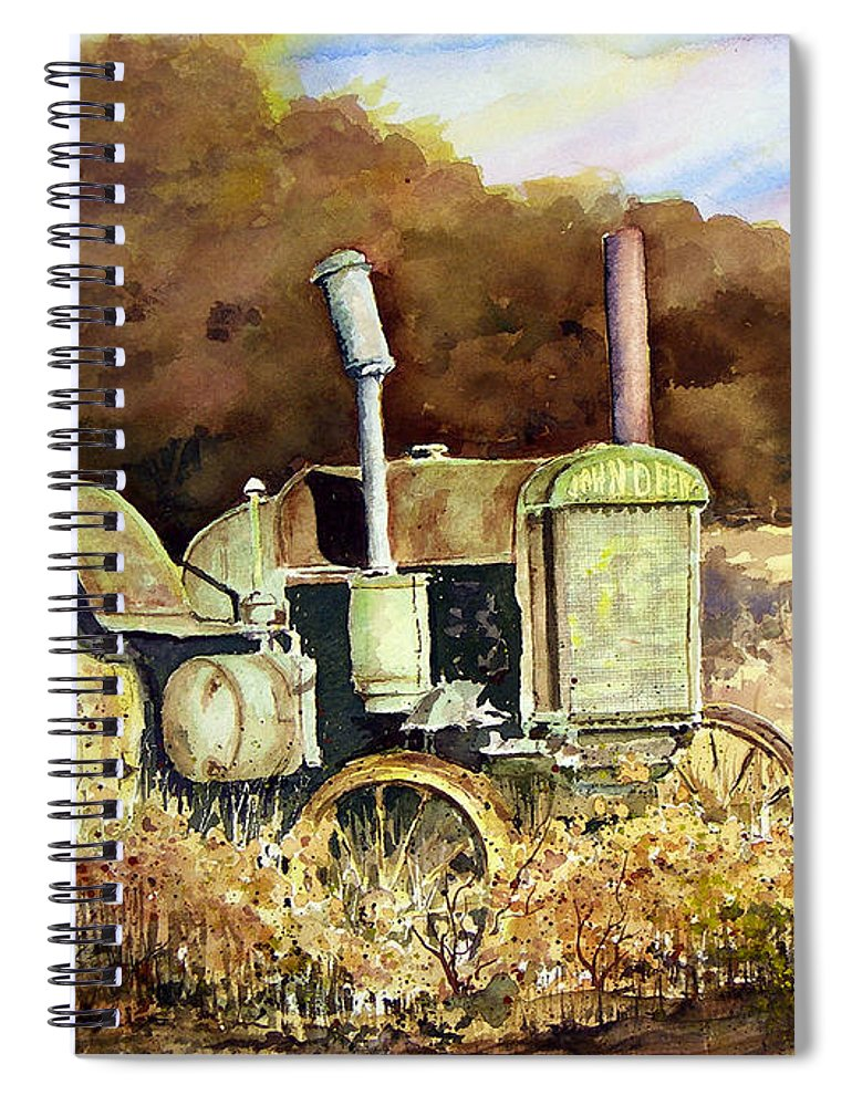 Tractor Spiral Notebook featuring the painting Johnny Popper by Sam Sidders