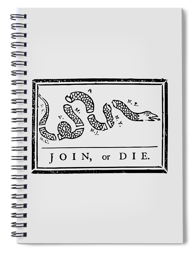 Join Or Die Spiral Notebook featuring the mixed media Join or Die by War Is Hell Store
